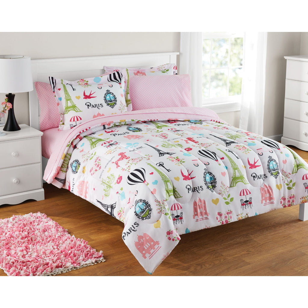 Kids Paris 7-Piece Bedding Set, Pink Girls Coordinating Bed in a Bag