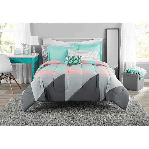 Modern Grey and Teal 8-Piece Bedding Set, Girls Fun Bold Comforter Set