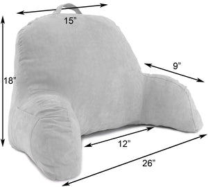 Deluxe Comfort Microsuede Bed Rest Reading and Bed Rest Lounger and Sitting Support Pillow Soft But Firmly Stuffed Fiberfill - Backrest Pillow With Arms, Grey