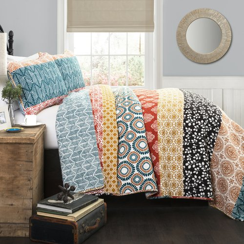 Bohemian Global Stripe Reversible 3-Piece King Quilt & Sham Bedding Set Set by Lush Decor