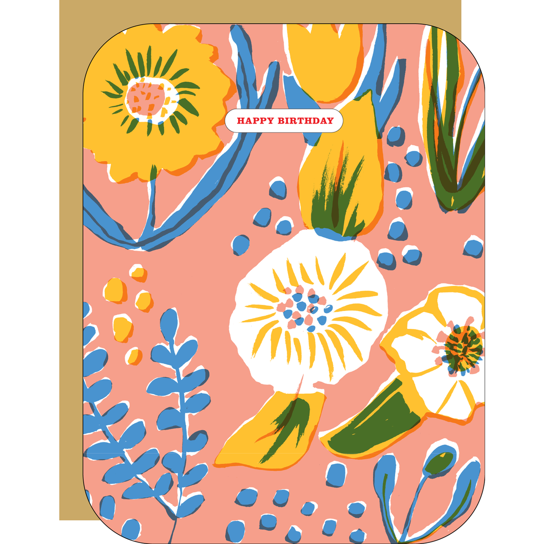Saturated Floral Birthday Card