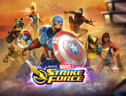 A photo of the artbook Marvel Strike Force: The Art of the Game
