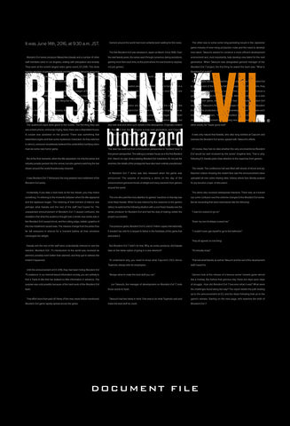 A photo of the artbook Resident Evil 7: Biohazard Document File