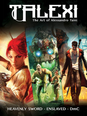 A photo of the artbook Talexi - The Concept Art of Alessandro Taini: Heavenly Sword, Enslaved and DMC