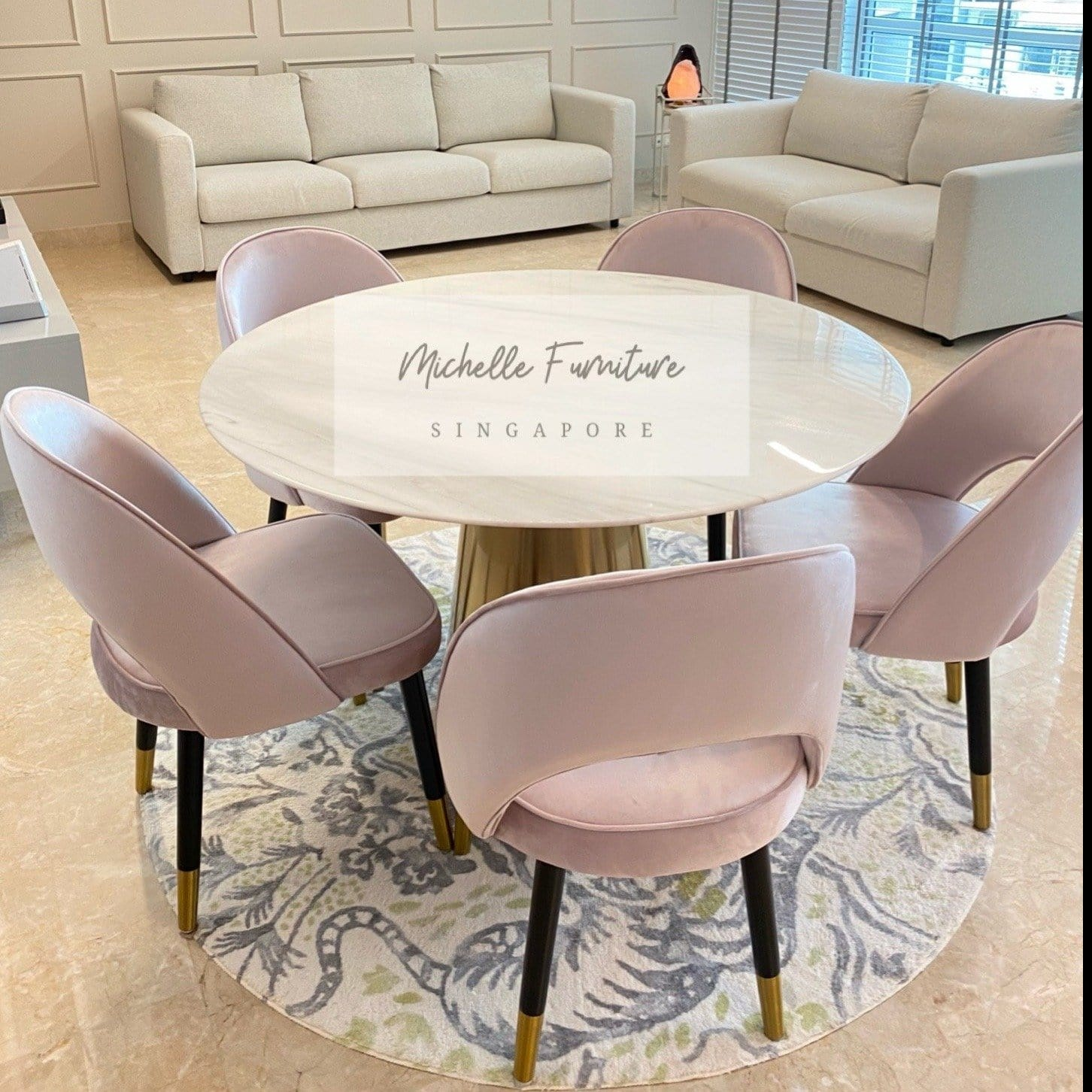 Round Marble Dining Table   Michelle Furniture Singapore
