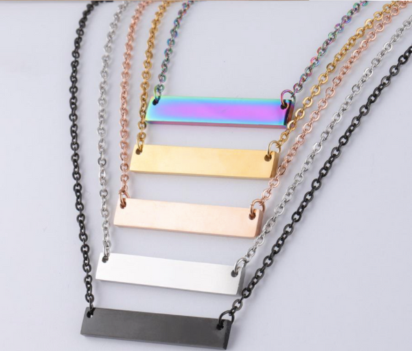 Blank Bar Pendant Necklace Stainless Steel for Engraving DIY