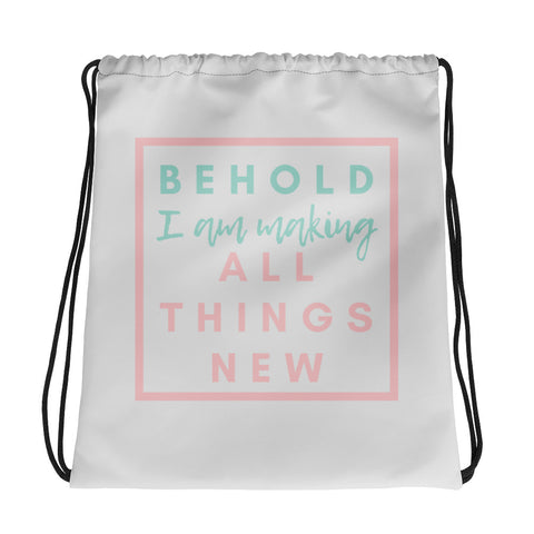 """All Things New"" Drawstring Gym Bag in Light Gray"