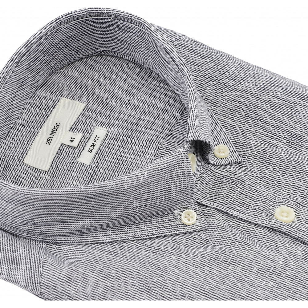 Francesco Half Button Fitted Shirt - NAV Navy