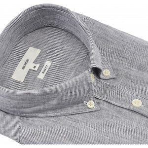Load image into Gallery viewer, Francesco Half Button Fitted Shirt - NAV Navy