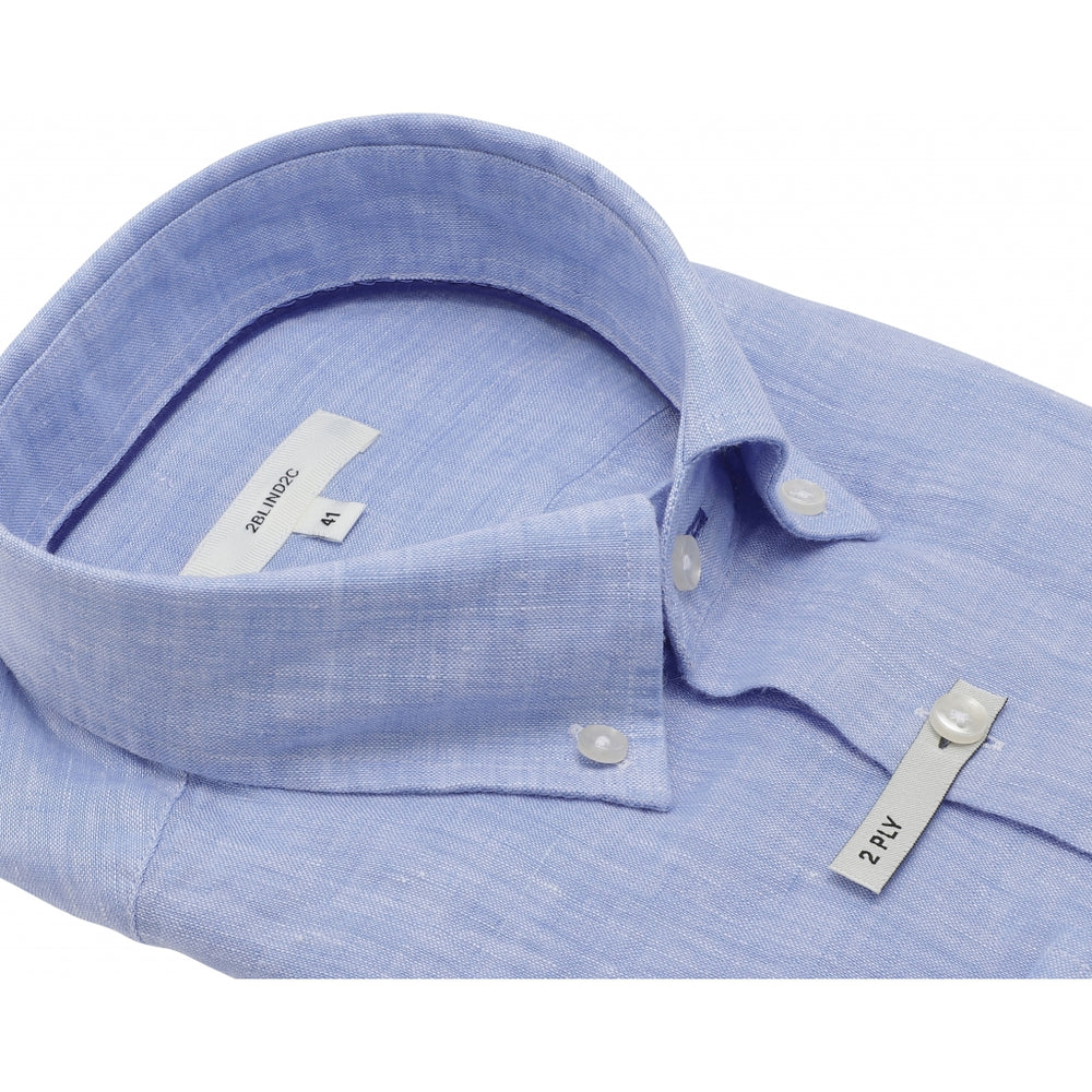 Franco Pure Linen Fitted Shirt - LBL Light Blue