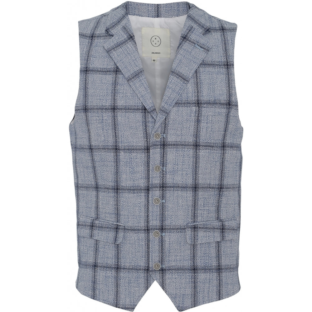 Wolf Check Vest - LBL Light Blue