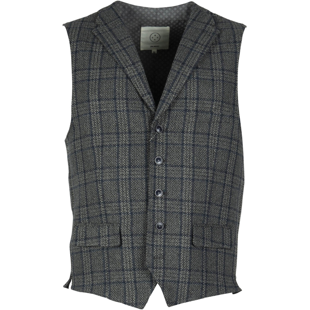 Wolf Check Wool Vest - NAV Navy