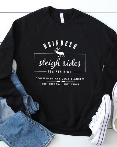 Bella Reindeer Sleigh Ride Graphic Crewneck Sweatshirt