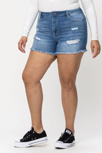Cello Plus High Rise Distressed Fray Hem Shorts