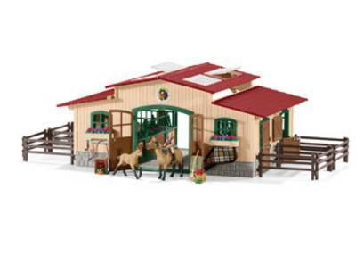 42195 SCHLEICH STABLE w HORSES N ACCESSO
