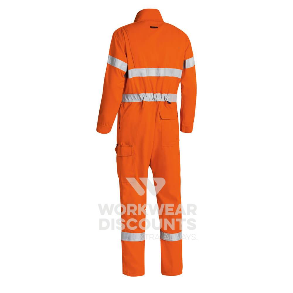 Bisley BC8185T TenCate Tecasafe Plus Hi-Vis Taped Lightweight Engineered Non-Vented FR Coverall Orange Back