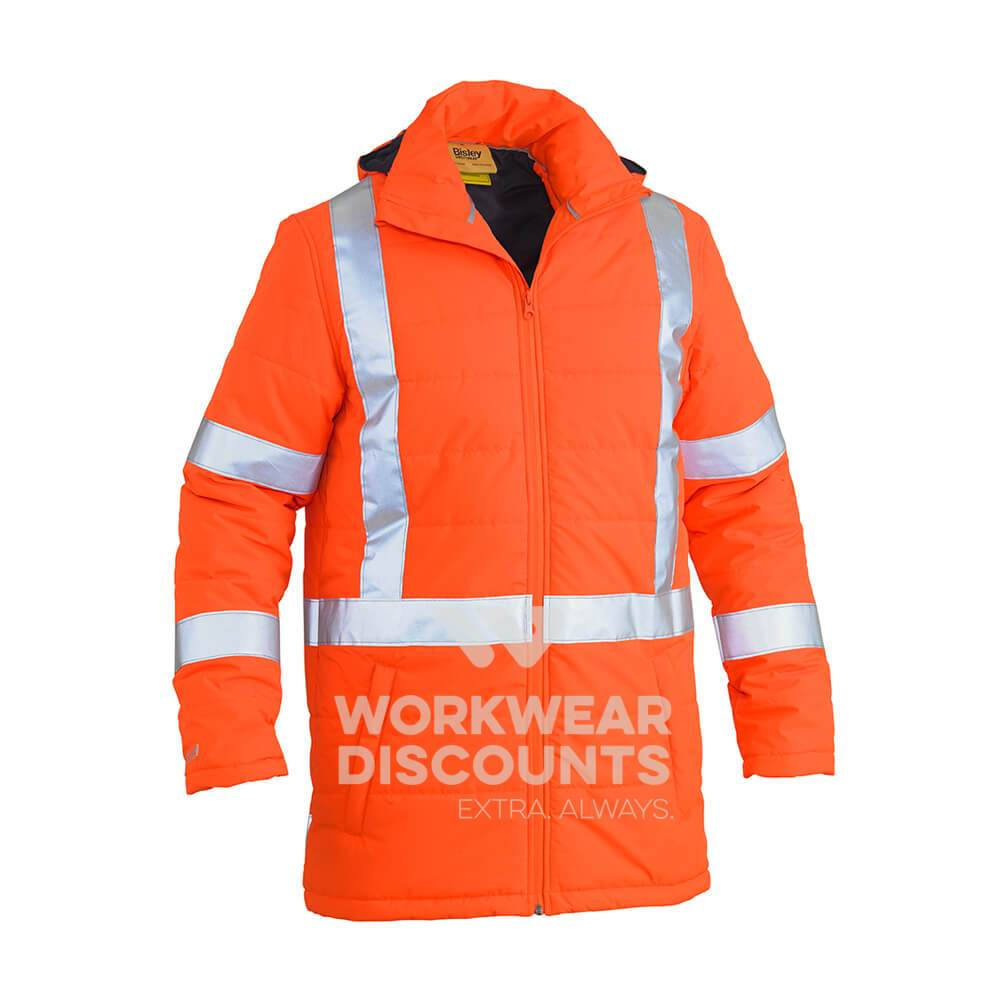 Bisley BJ6379XT Taped Hi Vis Puffer Jacket TTMC-W and NSW Rail compliant Orange Front