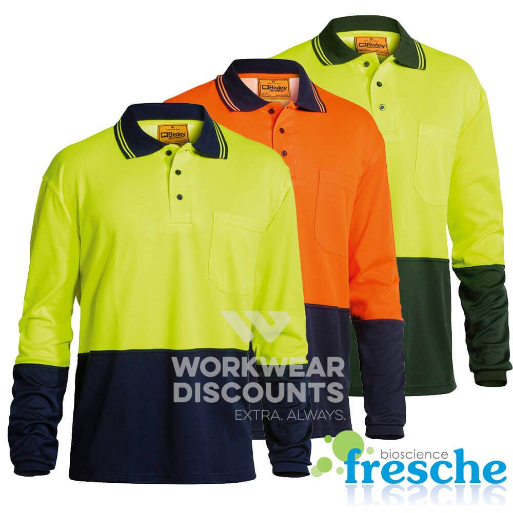 Bisley BK6234 Hi-Vis Cotton Backed Polo Long Sleeve
