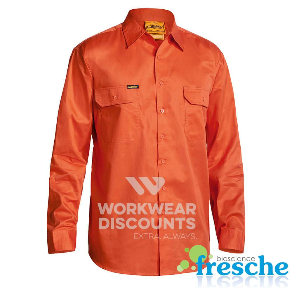 Bisley BS6894 Hi-Vis Lightweight Cotton Drill Shirt Gusset Long Sleeve Orange Front