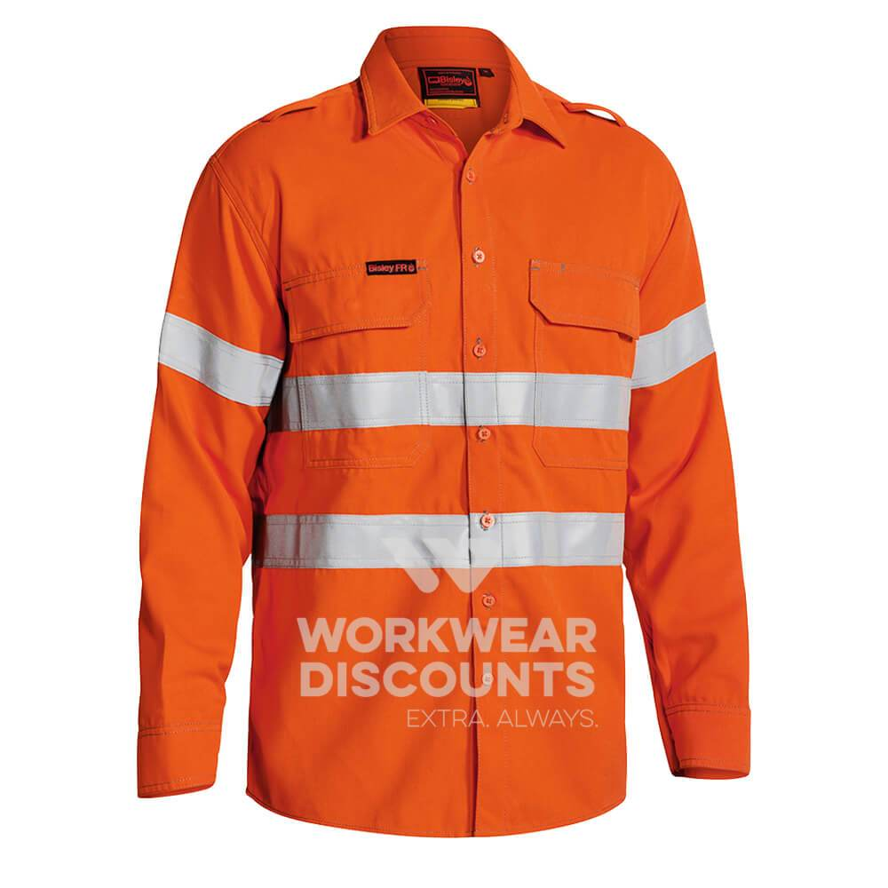 Bisley BS8081T TenCate Tecasafe Plus Hi-Vis Taped Vented FR Shirt Orange Front