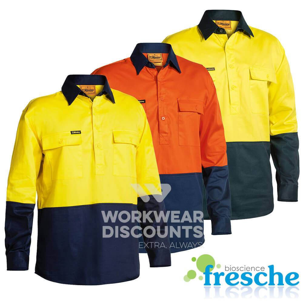 Bisley BSC6267 Hi-Vis Closed Front Cotton Drill Shirt Long Sleeve