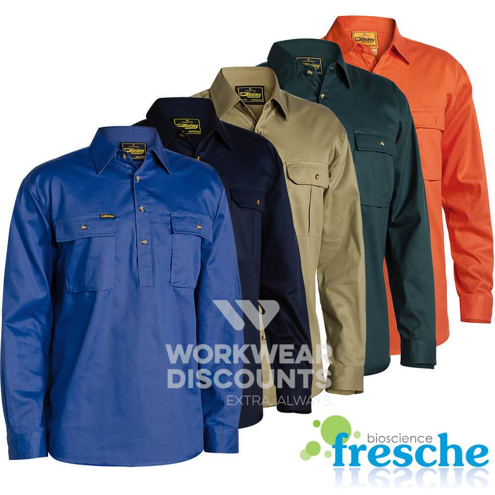 Bisley BSC6433 Closed Front Cotton Drill Shirt Long Sleeve