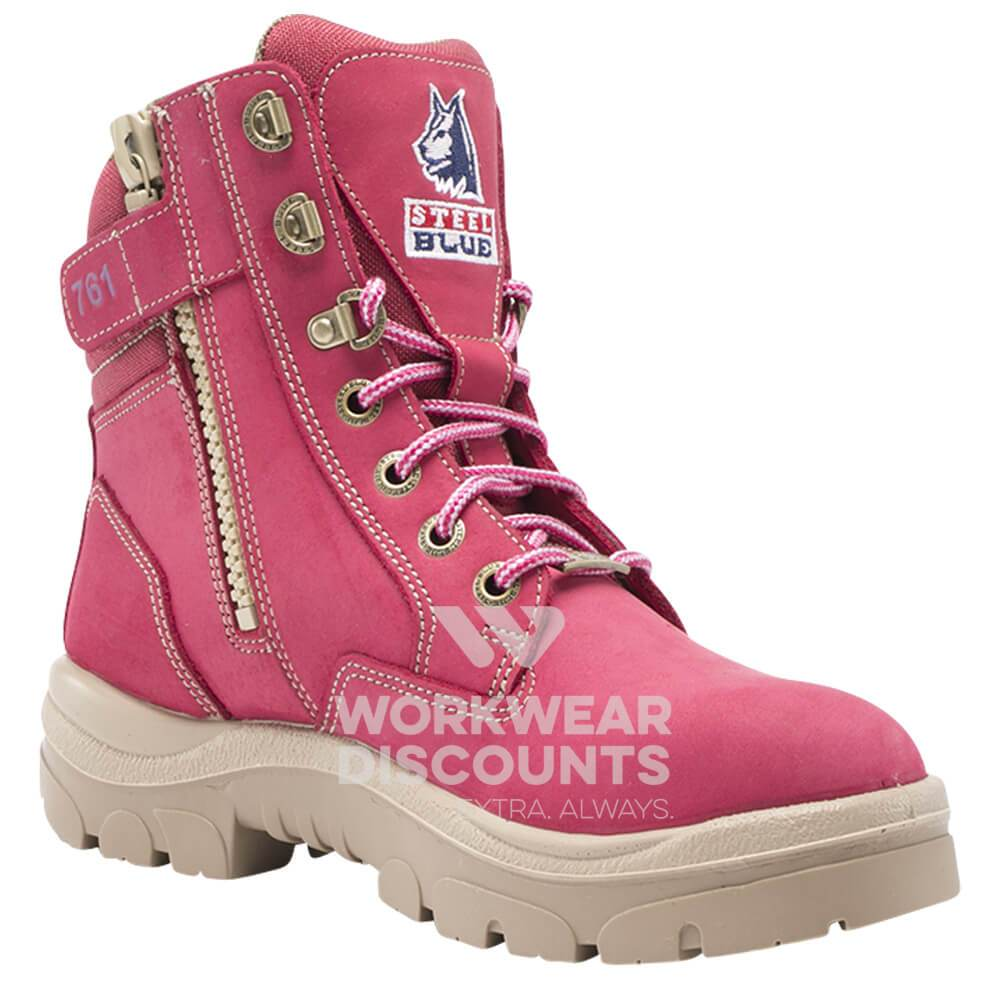 Steel Blue Southern Cross Zip Ladies Lace Up Steel Cap TPU Sole Boots Pink