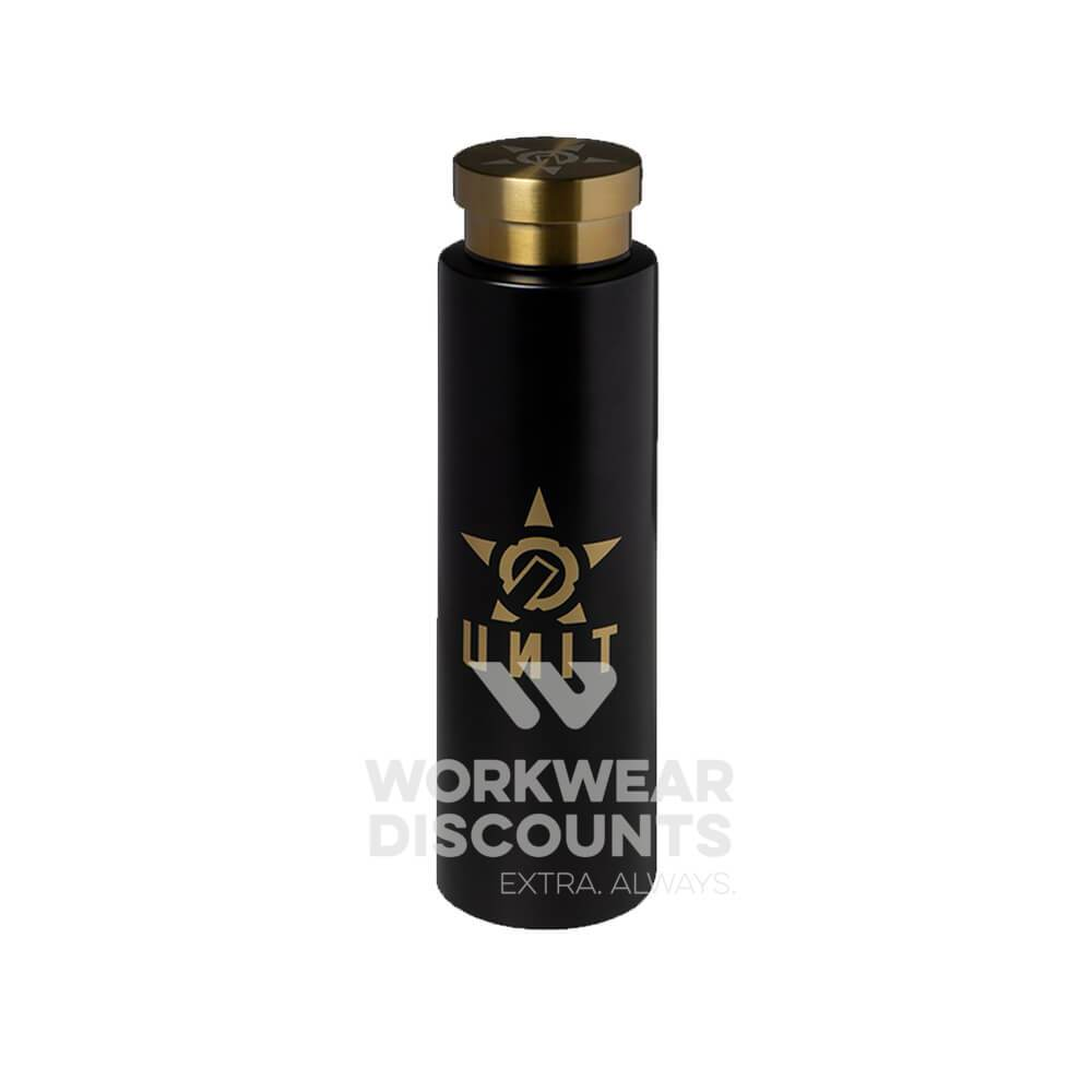 Unit Grand Water Bottle Black/Gold Front