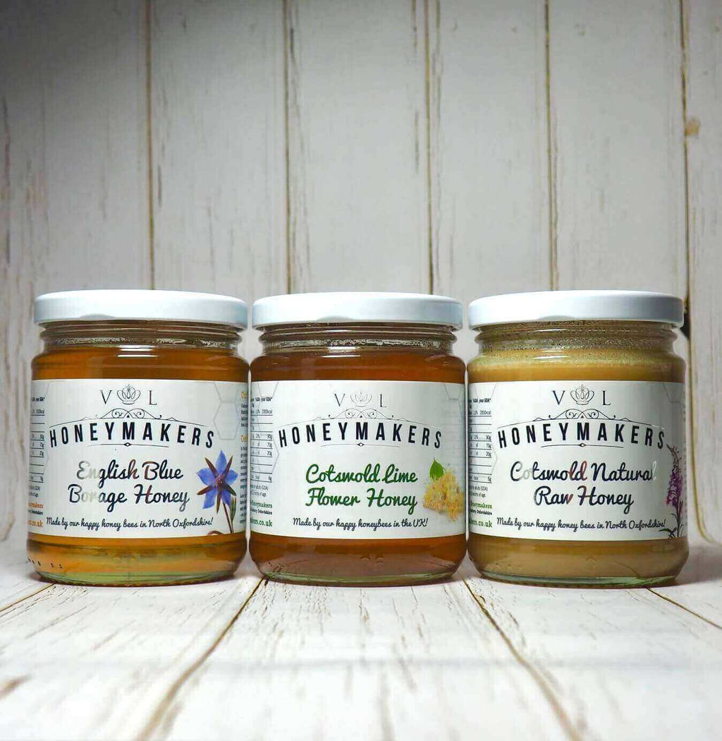 Honey Triple pack: Borage, Lime flower and raw. Each jar is 340g.