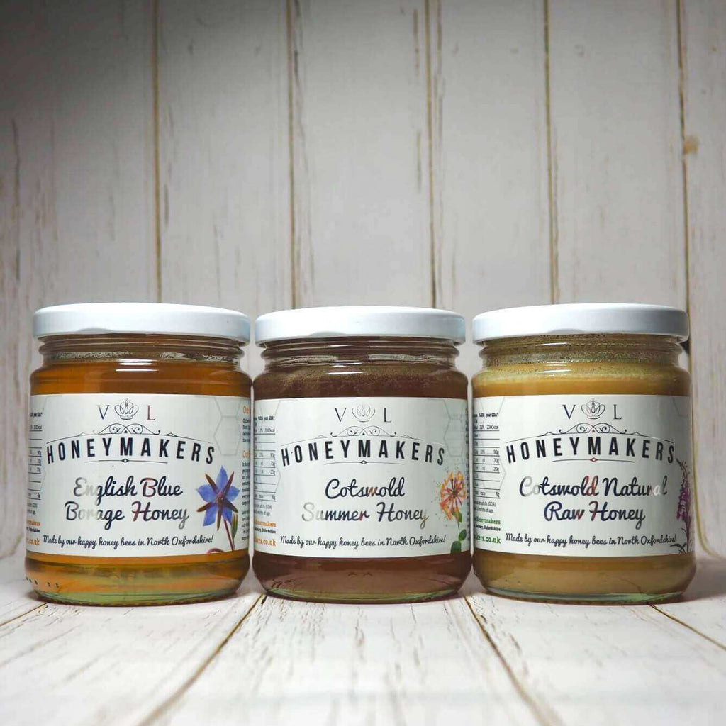 Honey triple Pack: English blue Borage, Cotswold Summer and Cotswold Natural Raw Honey. Each jar is 340g.