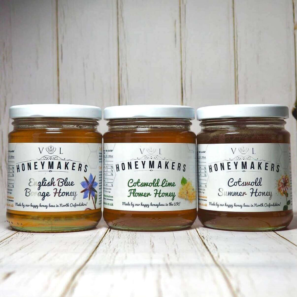 Honey Triple Pack: Borage, Cotswold Lime Flower and Cotswold Summer Honey. Each jar is 340g,