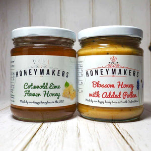 Blossom honey with added pollen and Cotswold lime flower honey. Each 340g