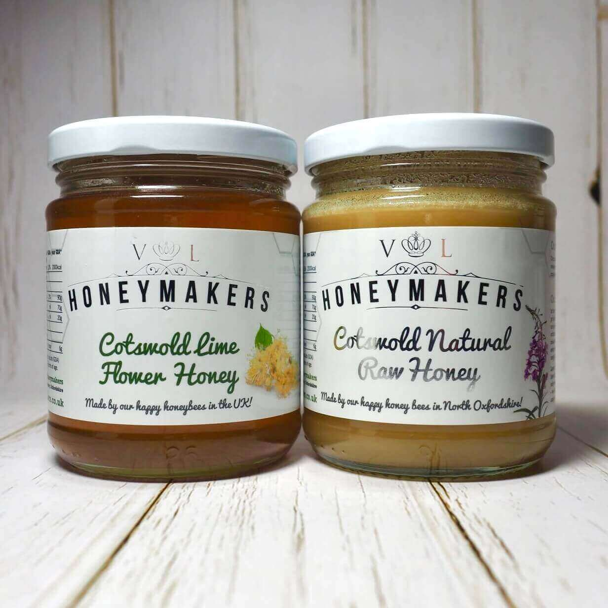 Cotswold lime flower honey and natural raw honey duo. 340g each