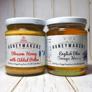 Blossom honey with added pollen and English Blue borage honey. 340g