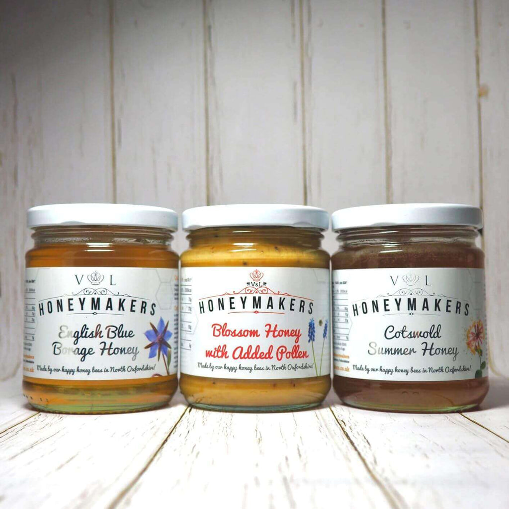 Honey Triple Pack: Borage, Blossom added pollen and Cotswold Summer Honey. Each jar is 340g.