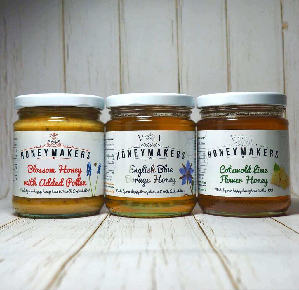 3 jars. Blossom honey with added pollen, English Blue borage honey and Cotswold Lime flower honey. 340g