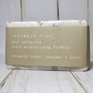 Handmade soap wrapped and labelled with skin softening, extra moisturising formula. Made from Cotswold honey, beeswax and oats