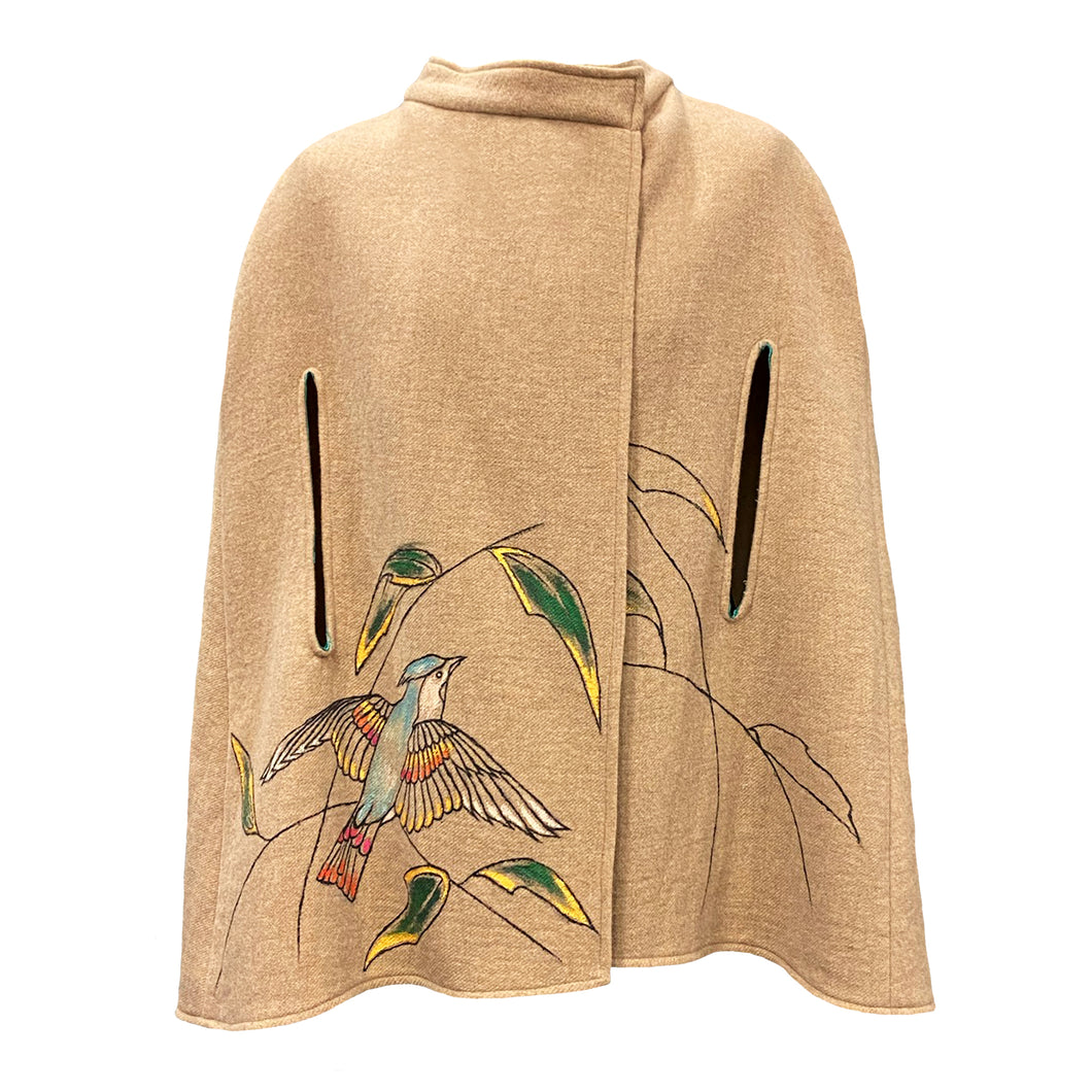 Camel Cape With Hand-Painted Bird Details