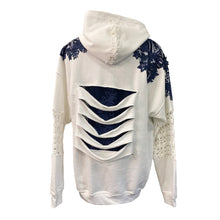 Load image into Gallery viewer, White Hoodie With Blue Lace Details