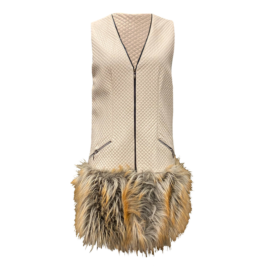 Beige Eco-leather Vest With Faux Fur