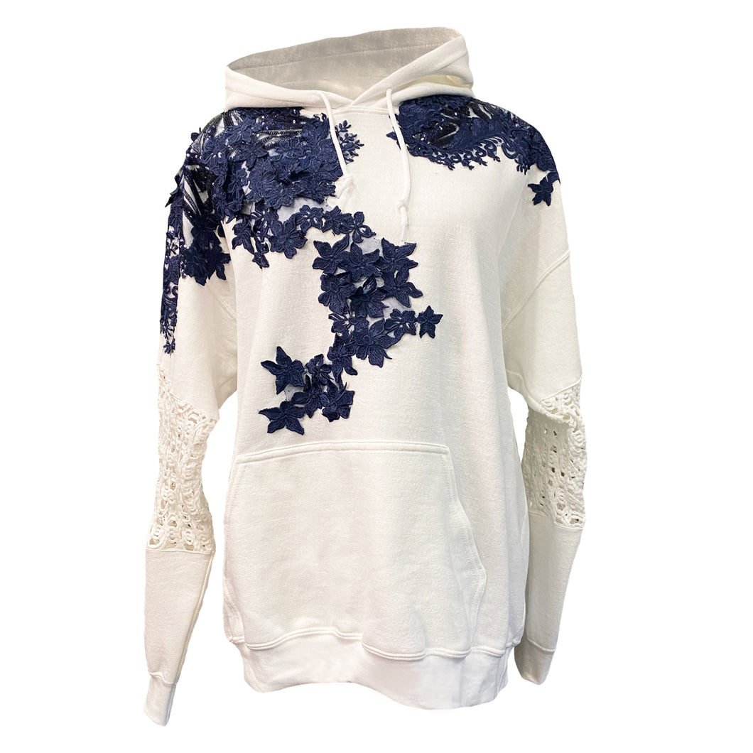 White Hoodie With Blue Lace Details