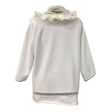 Load image into Gallery viewer, White Hoodie With Pleated Silk And Mesh Details