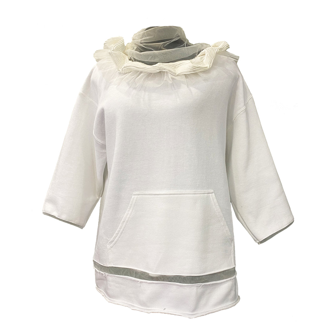 White Hoodie With Pleated Silk And Mesh Details