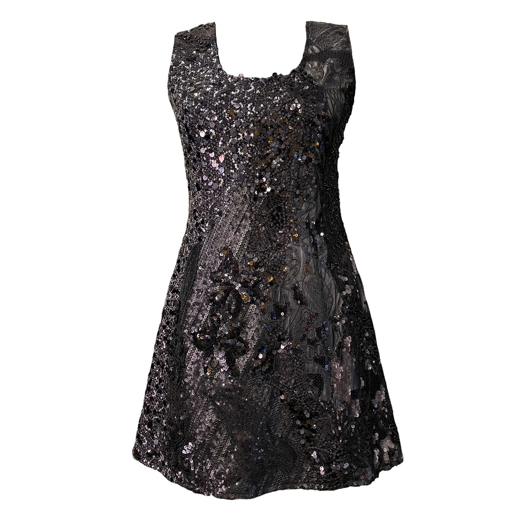 Short Dress With Sequins And Lace