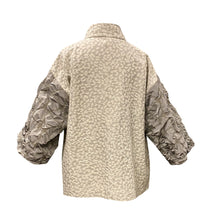 Load image into Gallery viewer, Light Brocade Jacket With Taffeta Sleeves And Oversize Pocket