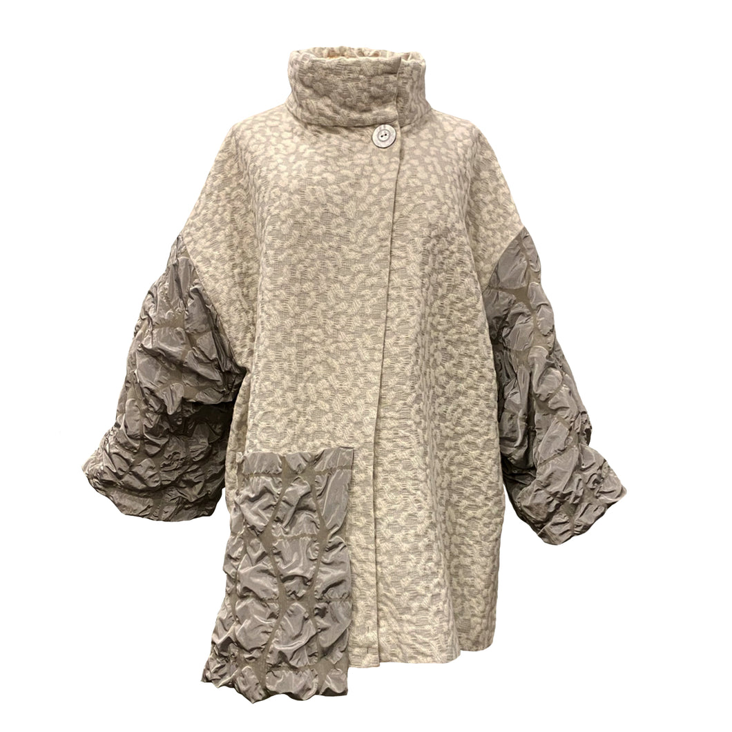 Light Brocade Jacket With Taffeta Sleeves And Oversize Pocket