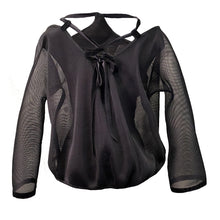 Load image into Gallery viewer, Black Mesh Blouse With Orange 3D Details