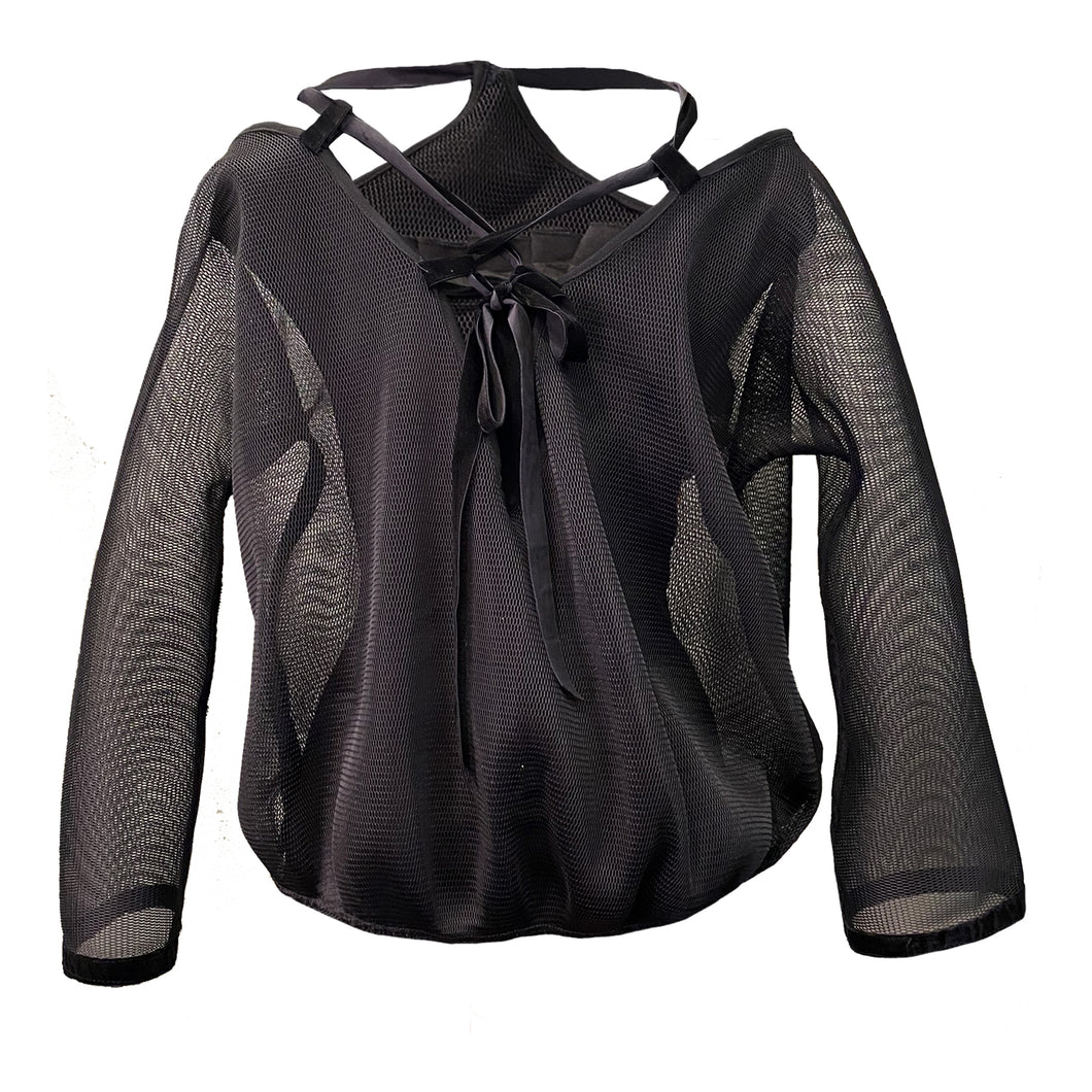 Black Mesh Blouse With Orange 3D Details