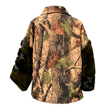 Load image into Gallery viewer, Jacket With Leaves Print And Faux Fur Sleeves And Pocket