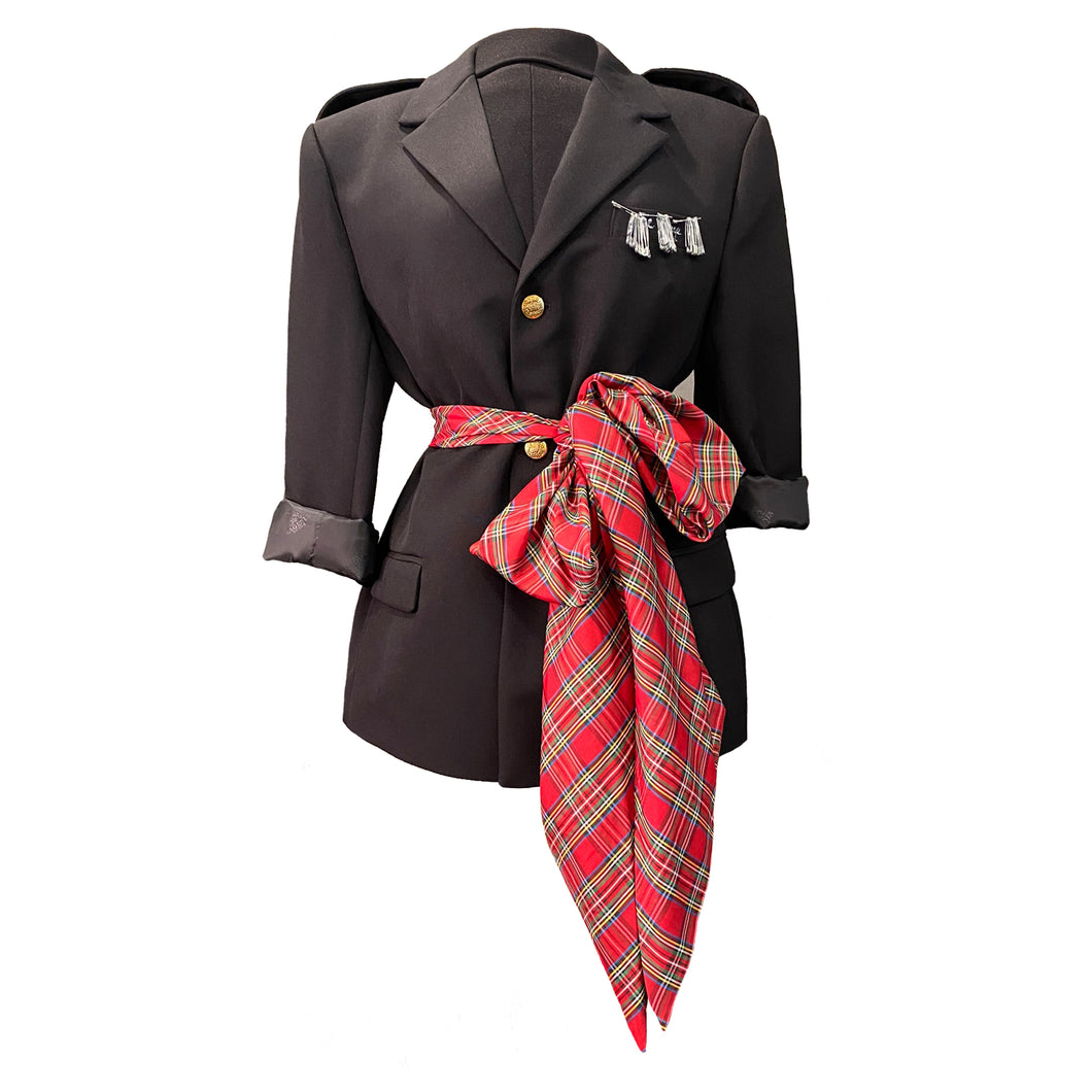 Black Jacket With Decorative Safety Pins And A Tartan Taffeta Scarf